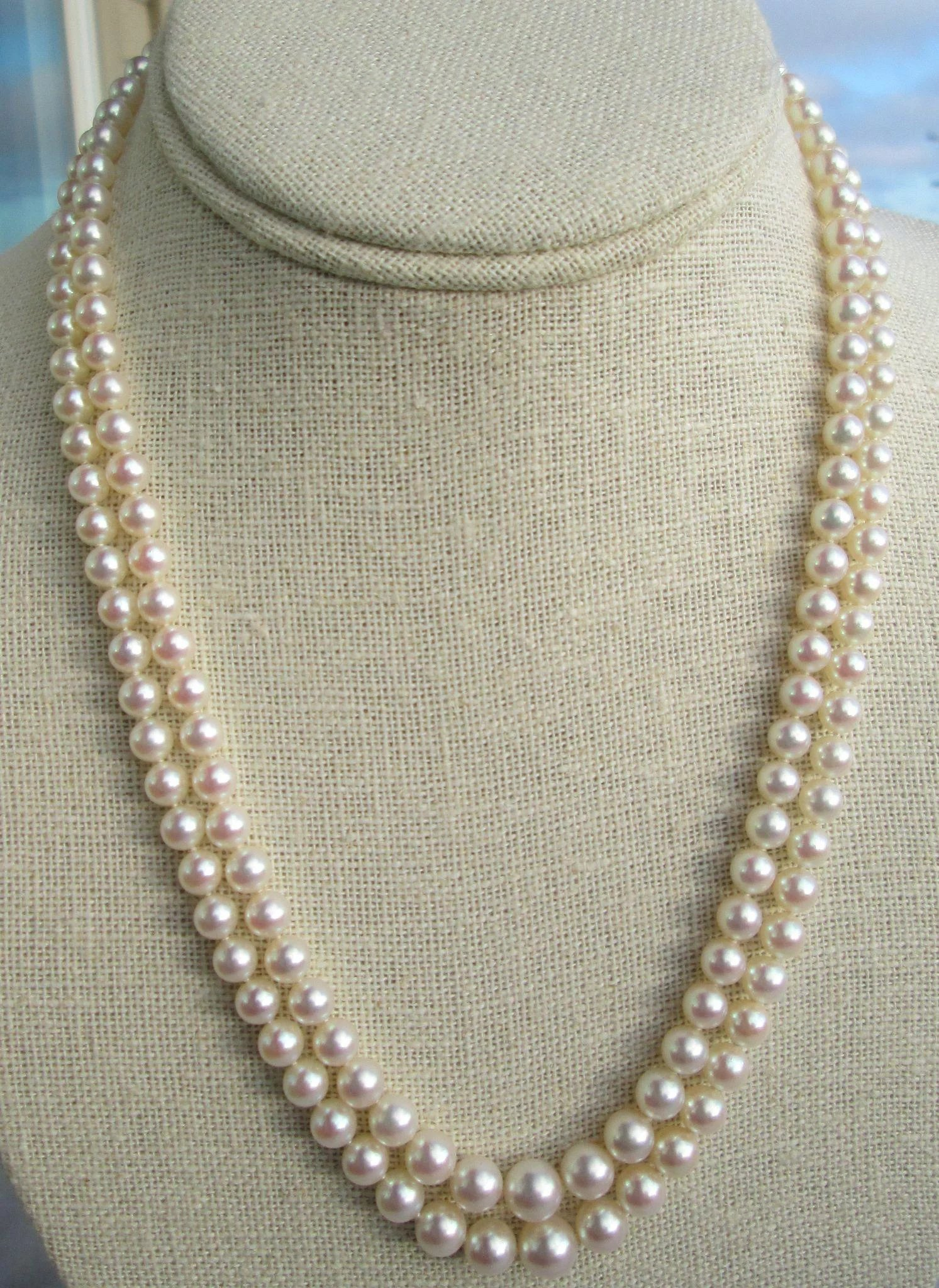 Mikimoto Double Strand Princess Length Cultured Pearl Necklace Vintage Bella Antiques And Jewels Ruby Lane