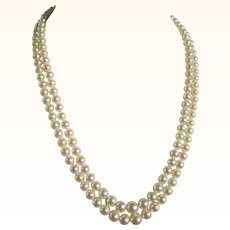 Mikimoto Double Strand Princess Length Cultured Pearl Necklace Vintage Estate