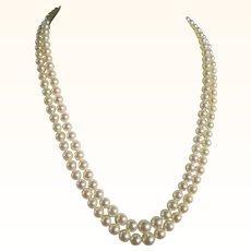 Mikimoto Double Strand Princess Length Cultured Pearl Necklace Vintage Estate