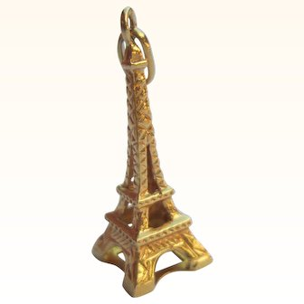 14K Gold Eiffel Tower Charm Vintage Estate