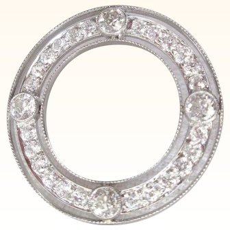 Art Deco 4 Carat Diamond & Platinum Circle Brooch Hollywood Glamour