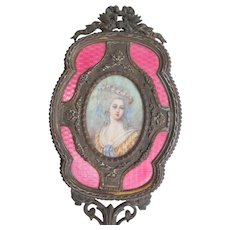 Napoleon III French Dore Bronze Guilloche Hand Mirror With Hand Painted Portrait 19th Century Marie Antoinette