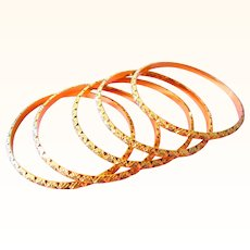 21K Solid 62.3 Grams Gold Bangles Vintage Hand Made; Mughal Bangles;Yellow Gold