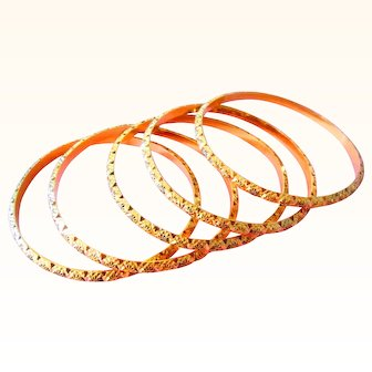 21K Solid 62.3 Grams Gold Bangles Vintage Hand Made; Mughal Bangles;Yellow Gold