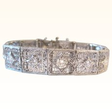 2.30 Carat Diamond Bracelet Platinum 14K Art Deco Bracelet Filigree