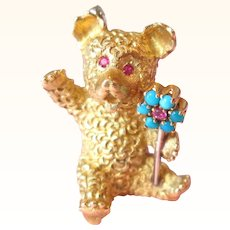 Cartier Signed Vintage 18K Teddy Bear With Flower Ruby And Persian Turquoise Vintage C.1960s Estate Rare: Cartier Brooch