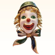 Corletto Diamond 18K 38.5 Grams Gold Enamel Clown Brooch Pin Vintage Italy Heavy