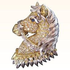 SALE 18k 31.6g Gold 2.80 Carat Diamond Encrusted Horse Pendant/ Brooch Vintage 1960s French Hallmarked