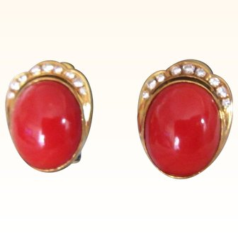 Natural Deep Red Ox Blood  Coral 18K Gold Earrings: Designer Trio c.1980's Vintage