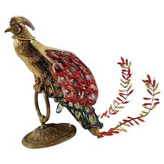 Vintage French Figural Bronze Czech Glass Beaded Shade Phoenix Firebird Bird Desk Lamp
