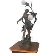 Antique Art Nouveau French Figural Newel Post Lamp Bird Dove Beaded Czech Shades