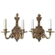 PAIR Vintage Italian Cast Brass Double Lamp Wall Sconce Mod Dept. Italy