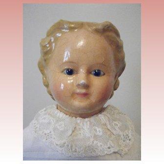 German Wax Over Papier Mache Doll All Antique Pumpkin Head Type