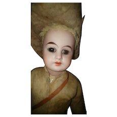 German Bisque Head Rough Rider Antique Doll