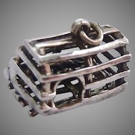 Sterling Silver 925 Lobster Trap Charm with Lobster Inside