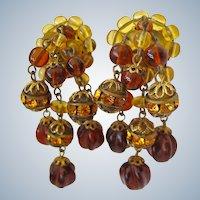 Fabulous Vintage Dangle Earrings West Germany Screw Back