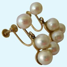 Vintage 14K Gold Multi-Pearl Dangle Screw Back Earrings 6.9 Grams
