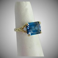 10K Blue Topaz & Clear Gemstone Ring East West Orientation
