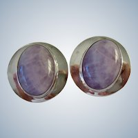 Large Round Sterling Silver Post Earrings with Oval Milky Lavender Amethyst Gemstones