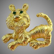 Gerry's Tiger Pin Brooch Gold Tone Green Eyes