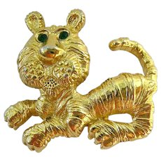 Gerry's Tiger Pin Brooch Gold Tone Green Eyes