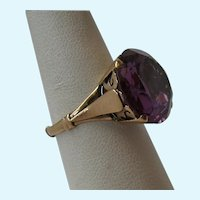 Huge 14K Gold Purple Sapphire Ring Color Changing