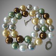 Multi-Color Pastel Simulated Pearl Necklace Sterling Toggle Clasp High Quality Hand Knotted