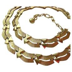 Signed Trifari Vintage Gold Tone Necklace