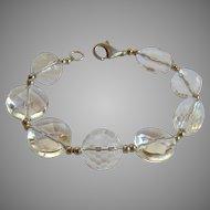 Large Faceted Rock Crystal Bead & Sterling Bracelet