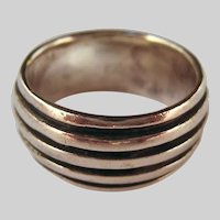Sterling Silver 925 Wide Ribbed Band Ring Unisex