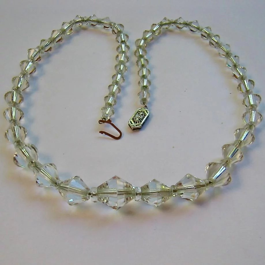 10K White Gold Clasp Vintage Graduated Crystal Necklace ...