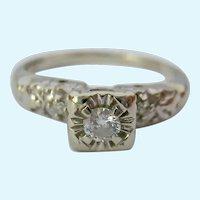Vintage 14K White Gold Diamond Engagement Promise Ring