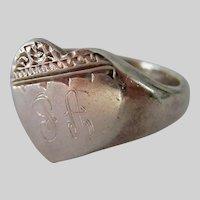 Vintage Sterling Silver 925 Love Heart Signet Ring Engraved