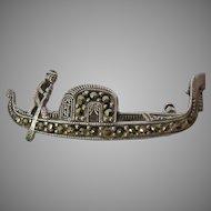 835 Silver and Marcasite Venice Gondola Pin Small