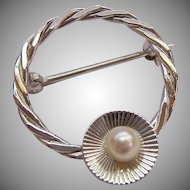 Sterling Silver 925 Circle Pin with Cultured Pearl Signed GMS