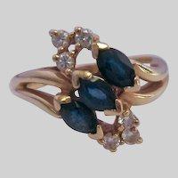 14K Gold Sapphire and Diamond Spray Ring