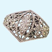 Sterling Silver 925 Marcasite Dress Clip Cut-Out Art Deco