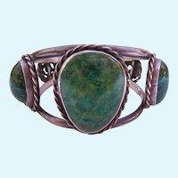 Impressive Substantial Sterling Cuff Bracelet Green Gemstones 67.2 Grams