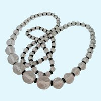 Graduated Faceted Clear Crystal Necklace with Black Rondelle Spacers
