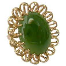 Huge 14K Gold Jade Ring Amazing Presentation