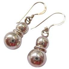 Sterling Silver 925 Snowman Dangle Earrings