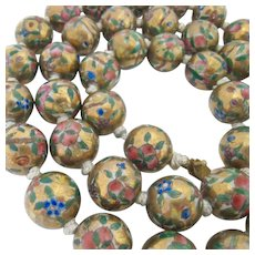 Chinese Painted Porcelain Large Bead Necklace Hand Knotted Filigree Clasp
