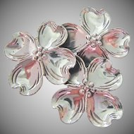 Beau Sterling Silver 925 Triple Dogwood Blossom Pin Brooch
