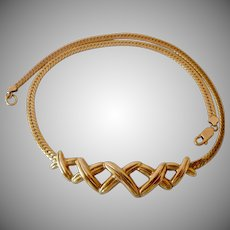 Krementz Signed Gold Plate Choker Necklace with X's