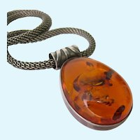 Sterling Silver 925 Amber Pendant Necklace