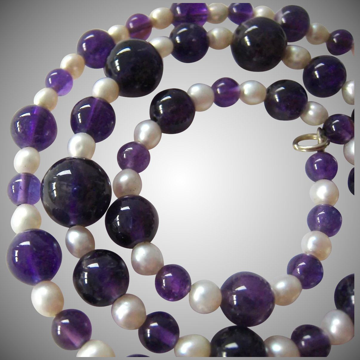 Amethyst Bead Cultured Pearl Necklace Sterling Silver 925