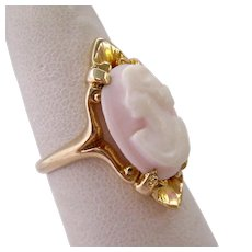 14K Gold Angel Skin Coral Cameo Ring