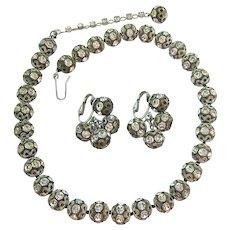 Designer Vogue Choker Necklace Earring Set Clear Rhinestone Ball
