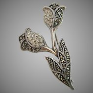 Sterling Silver 925 Marcasite Rhinestone Flower Pin Brooch