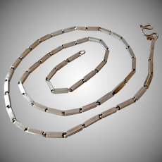 Sterling Silver 925 Elongated Box Link Chain Necklace S-Clasp